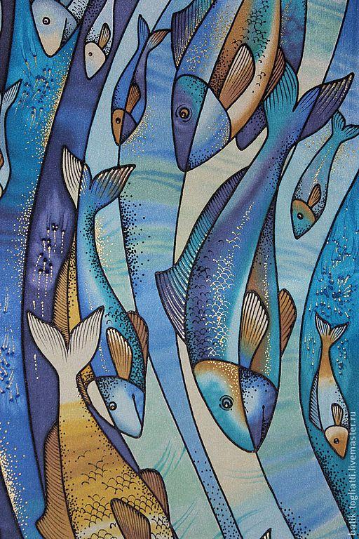 Silk painted scarf by SilkSkif