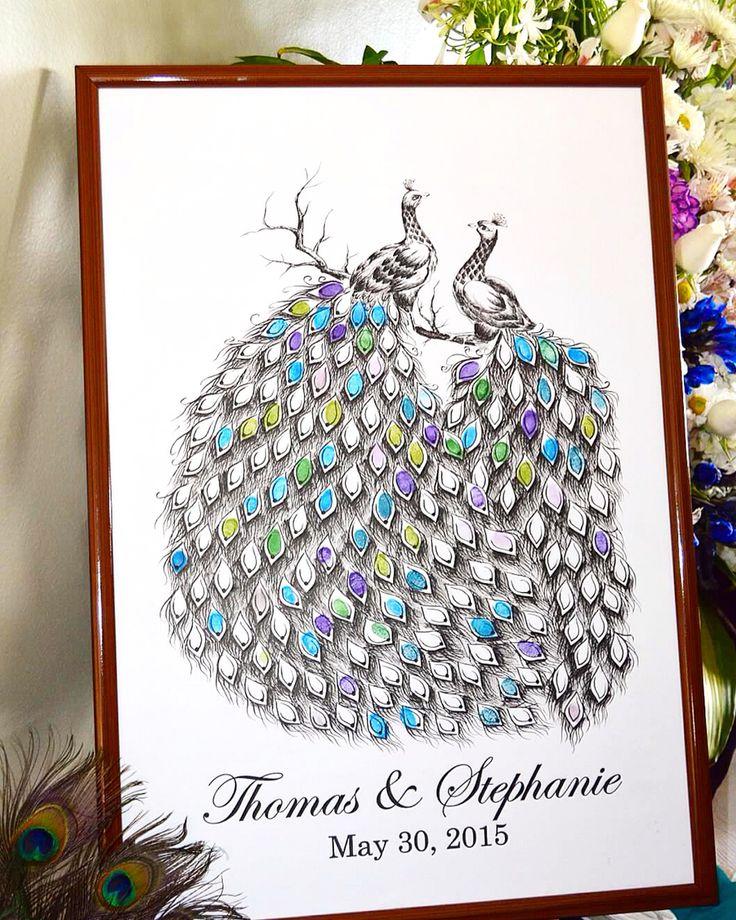 Peacock fingerprint guest book