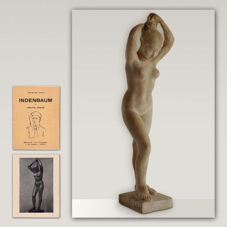 """1926 """"La femme nue"""" par LEON INDENBAUM 1890-1981. Ce sculpteur russe, de religion juive, naturalisé français, né en Biélorussie, arriva à Paris en 1911 à LA RUCHE il participa au mouvement artistique ECOLE DE PARIS avec ses amis ... Marc Chagall, Chaim Soutine, Amedeo Modigliani, Diego Rivera, Leonard Foujita, Ossip Zadkine ... Sculpture de 43 cm - 17 inch. Photo de cette sculpture dans le livre de 1933 """"Indenbaum"""" par Adolphe Basler  - Collection """"Artistes Juifs""""."""