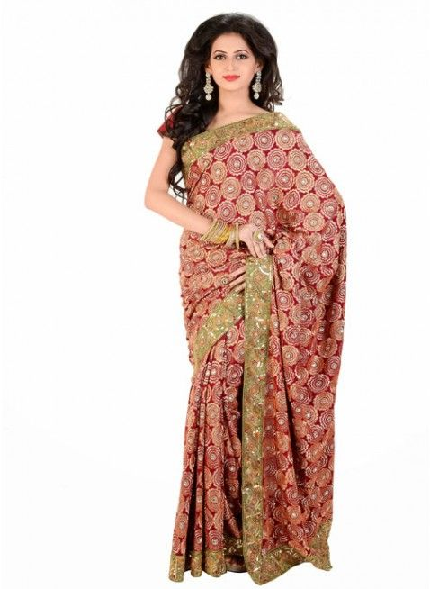 Contemporary Dark Red Wine Color Chiffon Based Embroidered #Saree With Resham Work #clothing #fashion #womenwear #womenapparel #ethnicwear