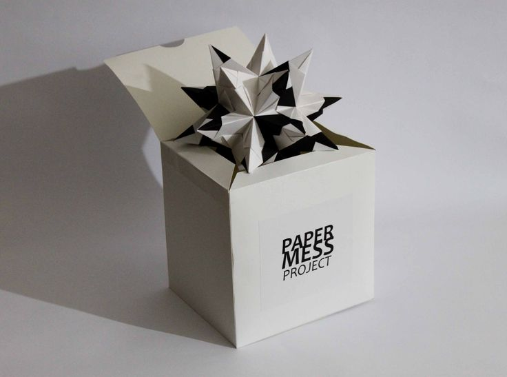 paper mess project, packaging, origami, bascetta star, optimus, white and black, box