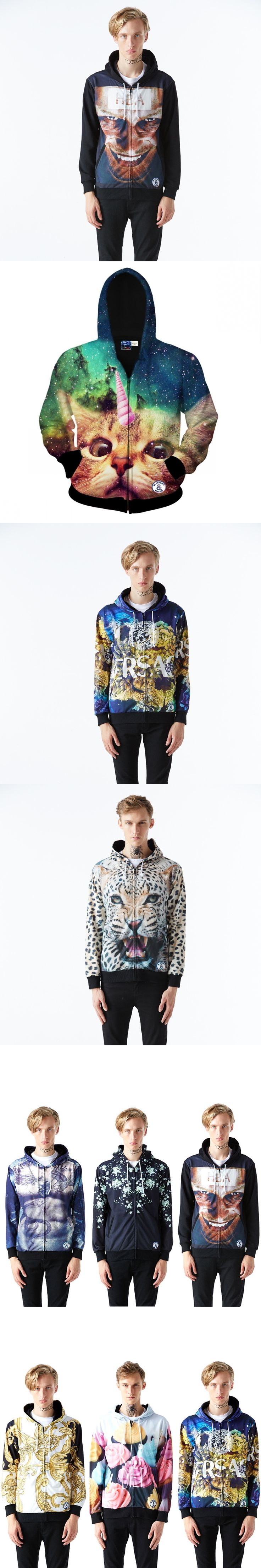 2018 New Year Christmas Autumn and Winter White Leopard Men Men 3D Print Hooded Cardigan Jacket  Couples Menswear
