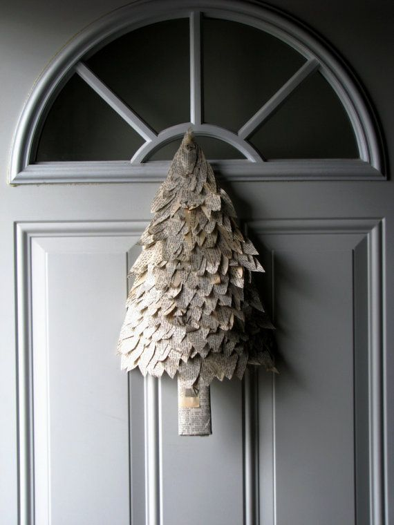 Book page Christmas tree as wall or door wreath