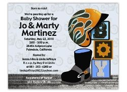 Harley motorcycle baby shower invitation