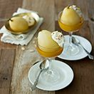 Almond Champagne Poached Pears with Almond Whipped Cream