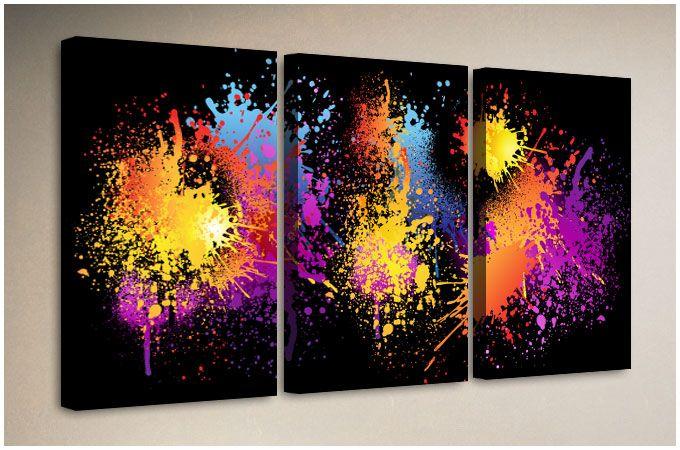 A punchy splash of fluorescent paint on a black background gives this large abstract artwork a great energy. This modern expressive print would suit a modern living room or a rebellious teenagers bedroom.