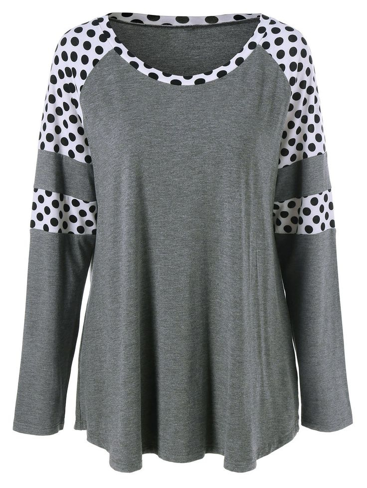 $11.48 for Plus Size Polka Dot Insert T-Shirt in Grey And White | Sammydress.com