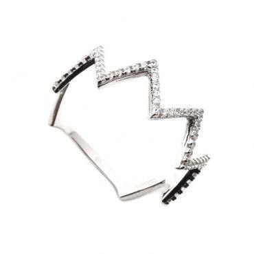 Μοντέρνο λεπτό δαχτυλίδι λευκόχρυσο Κ14 σε σχήμα ζικ ζακ με σειρέ από πέτρες που φοριέται μόνο του ή ταιριάζει με άλλο όμοιο | Δαχτυλίδια ΤΣΑΛΔΑΡΗΣ #ζικζακ #ζιργκον #λευκοχρυσο #δαχτυλίδι