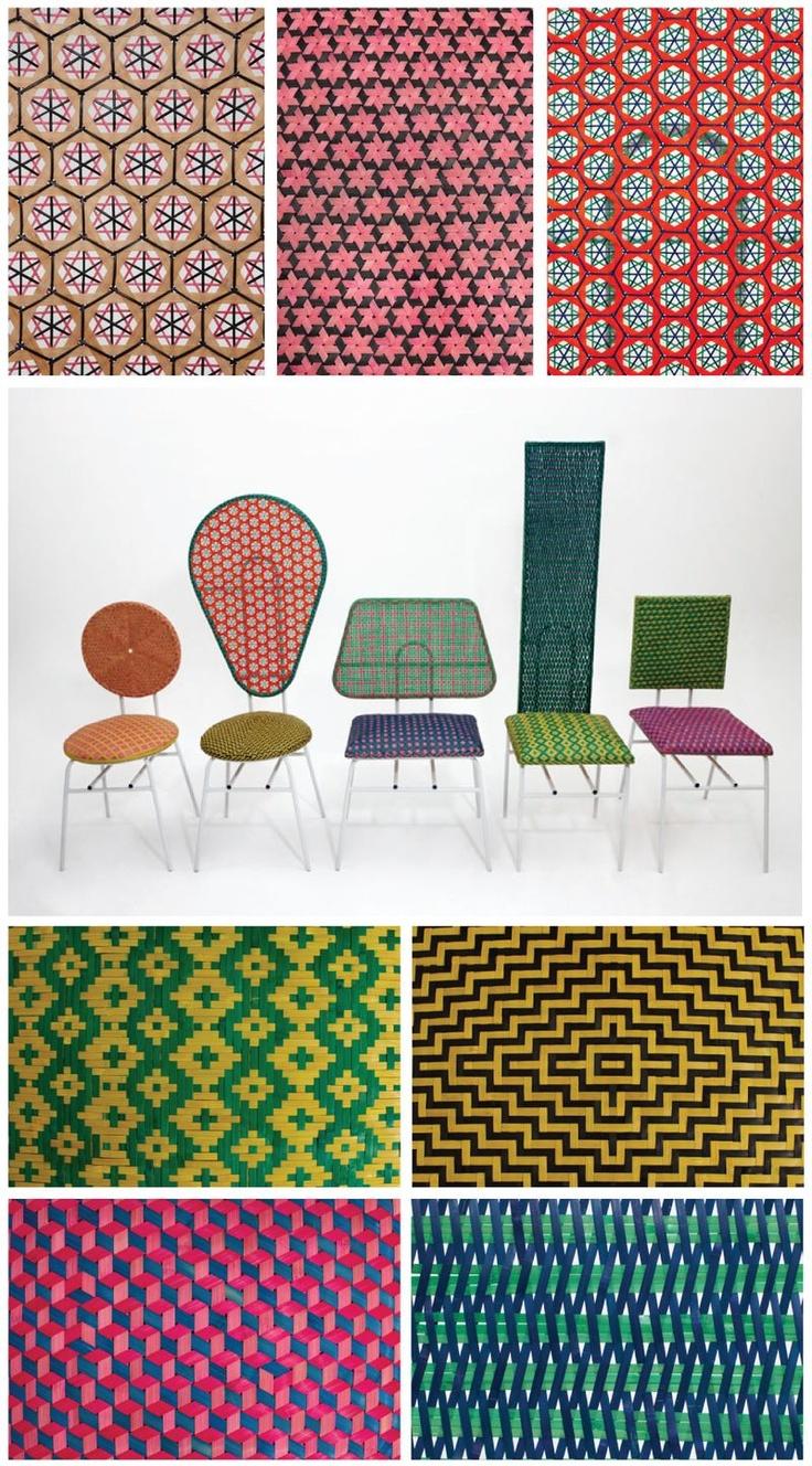 Chairs by Qiongjie Yu and Siwen Huang.  Traditional bamboo weaving techniques.