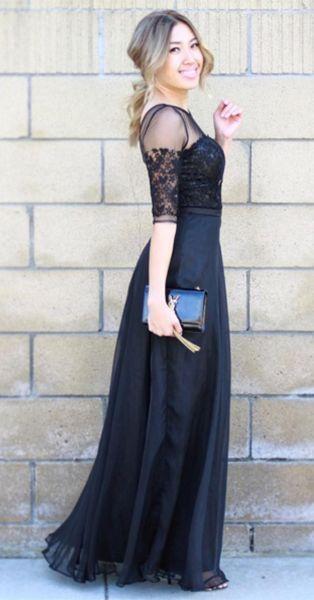 long black lace prom dress. Half sleeve!