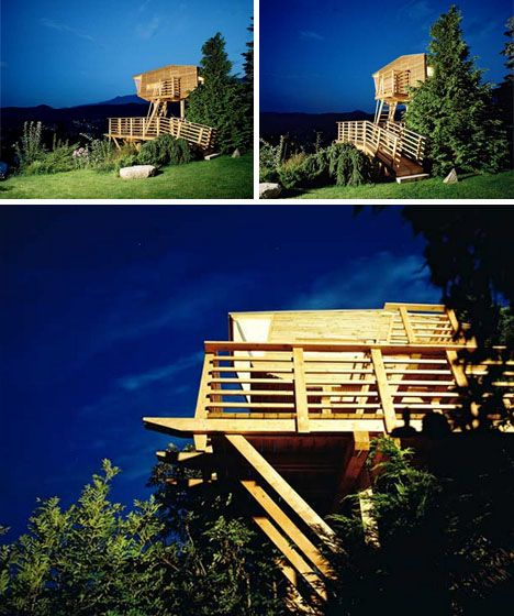 treehouse at night photos