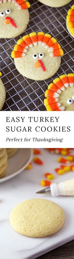Turkey Sugar Cookies are a playful dessert for Thanksgiving. They are fun to make for parties, lunch boxes, and play dates. #thanksgivingrecipes #cookies via @https://www.pinterest.com/fireflymudpie/