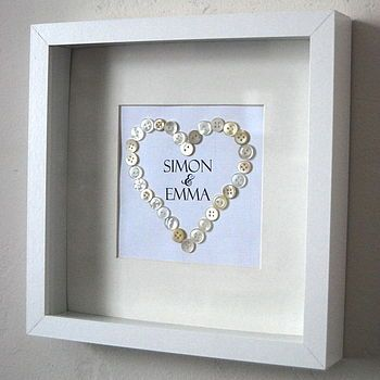 Button Heart ~ matted and framed ~ Great wedding, baby shower, anniversary gifts. Simple!