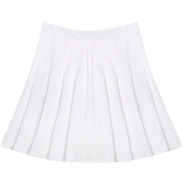 Birds-printed Chiffon Tank White Pleated High-rise Skirt (1.155 UYU) ❤ liked on Polyvore featuring skirts, bottoms, white, high-waist skirt, chiffon knee length skirt, white high waisted skirt, white knee length skirt and high rise skirts