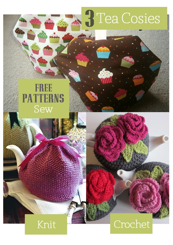 cute tea cosy - crochet, sew and knit patterns available