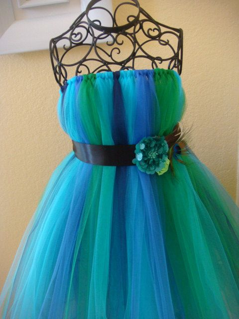 Peacock tutu dress by raelei on Etsy, $30.00 Could easily make this with some…