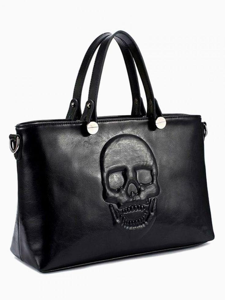 Embossed Skull Shopper Bag In Black - Choies.com