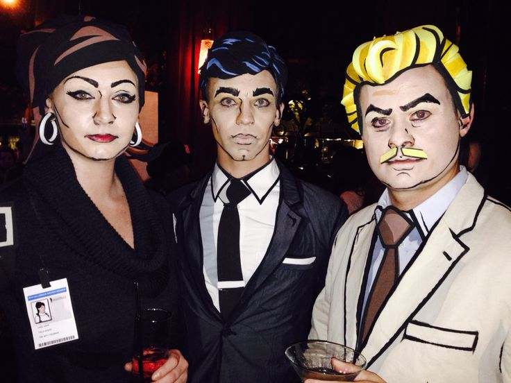 Archer Halloween 2014 2D painted costumes and handmade foam wigs. Lana, Archer, & Ray