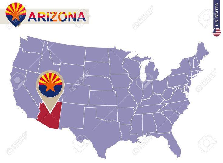 Estado de Arizona en EE.UU. mapa. bandera de Arizona y el mapa. Estados Unidos. Foto de archivo - 54503655