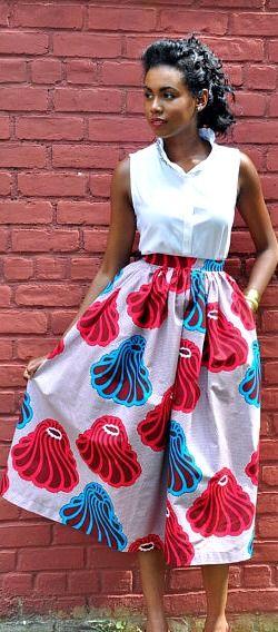African Print Tea Length Skirt. he Tea length skirt is made from a beautiful African Print Wax fabric. African fashion, Ankara, kitenge, African women dresses, African prints, African men's fashion, Nigerian style, Ghanaian fashion, fashion blogger (affiliate)