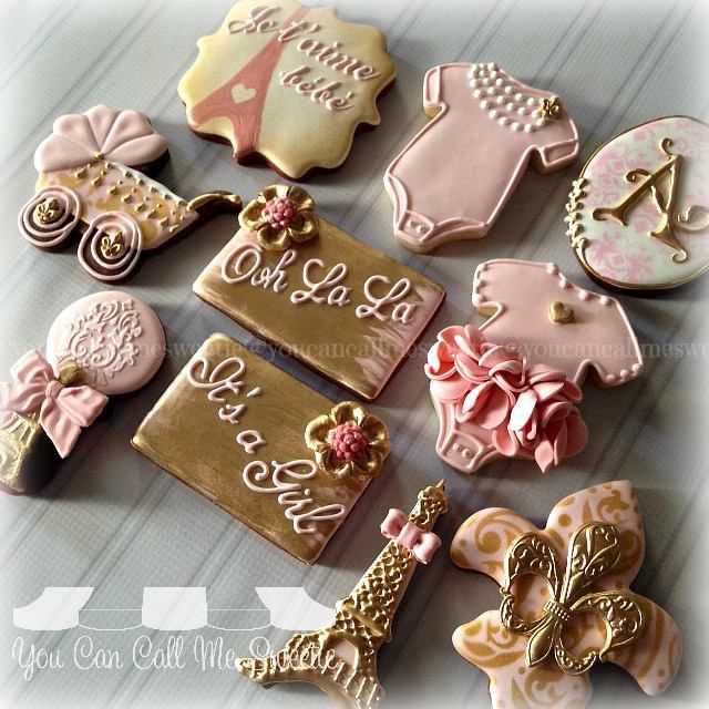 Paris Baby Shower Theme Cookies