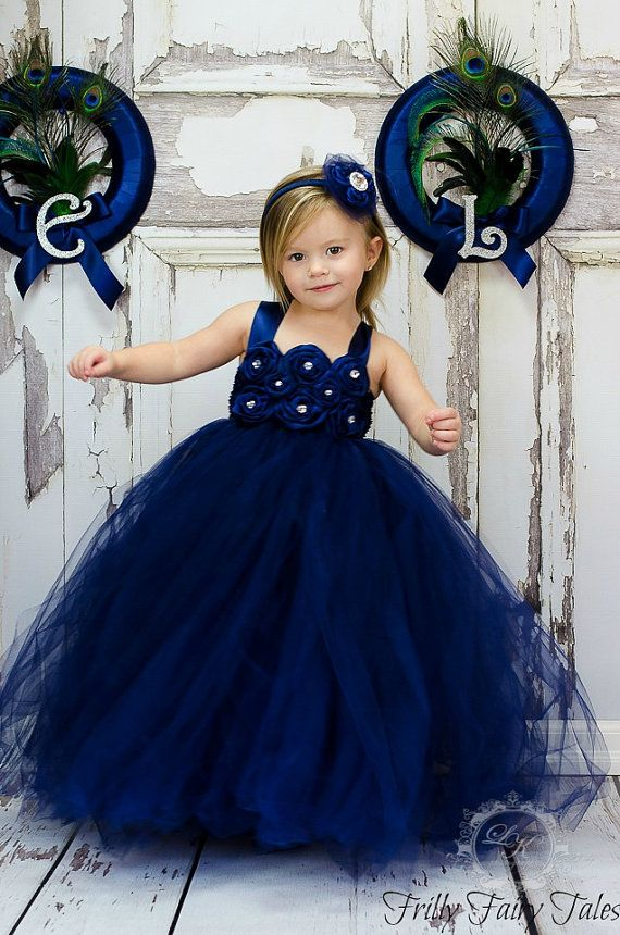 Navy Blue Flower Girl Dress by FrillyFairyTales on Etsy, $75.00