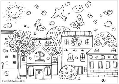 little town scene join my grown up coloring group on fb i spring coloring pageskids colouring pagesdetailed - Intricate Coloring Pages Kids