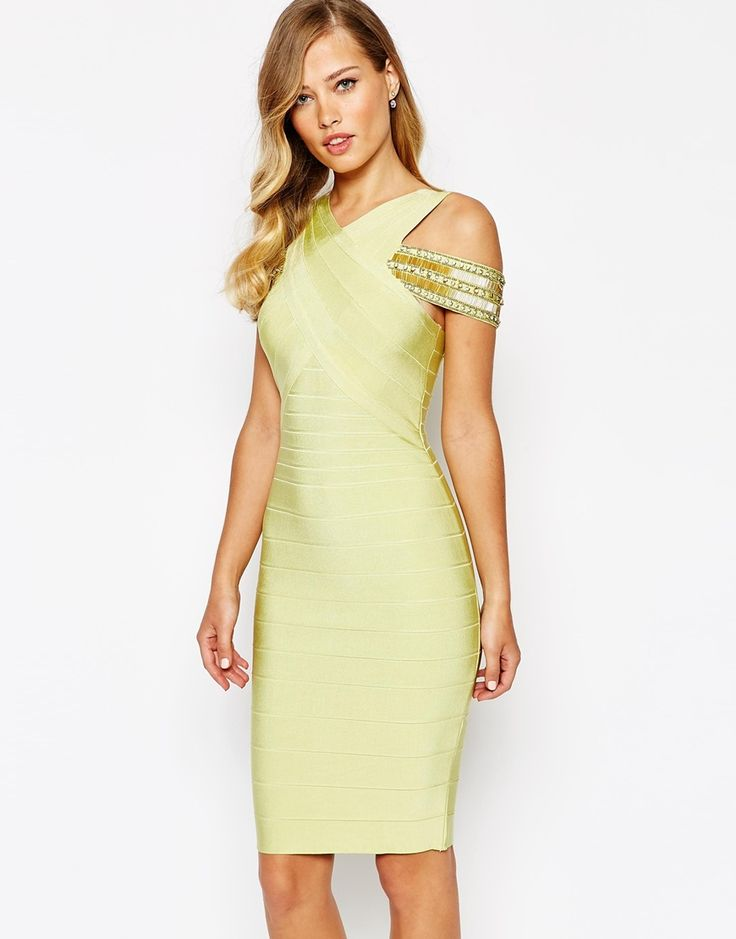 Image 1 of Forever Unique Suki Cross Front Luxe Bandage Body-Conscious Dress  With Off