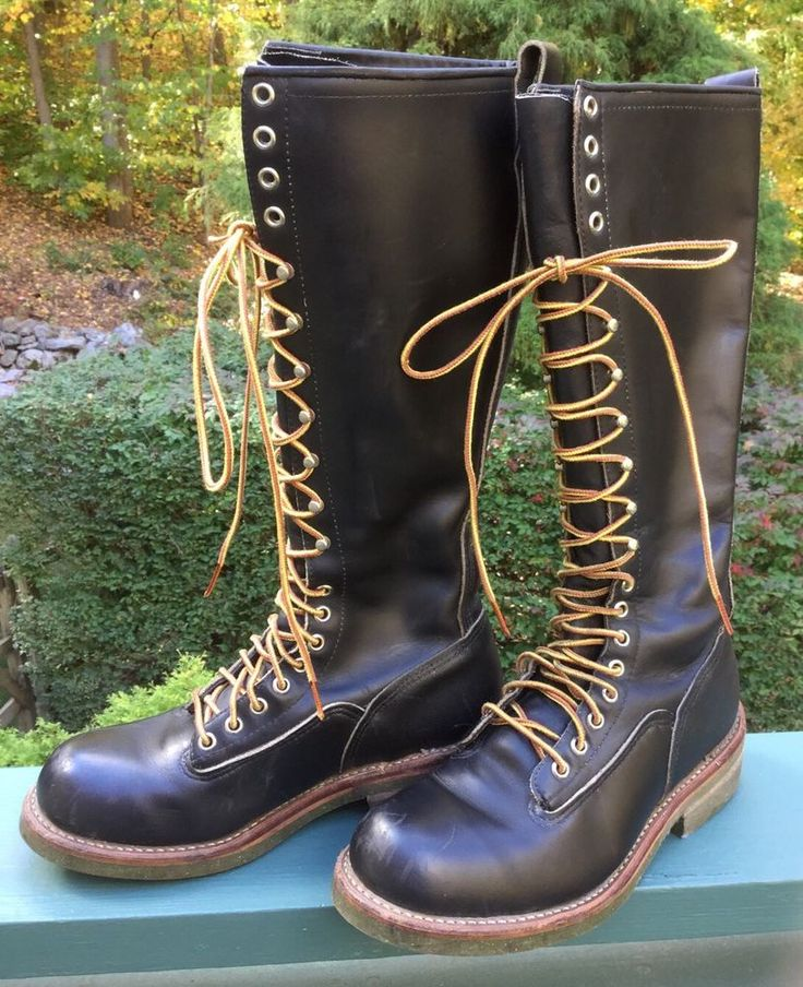 Vintage Red Wing 16 Quot Tall Lace Up Black Leather Lineman Logger Boots Men S 7 E Redwing