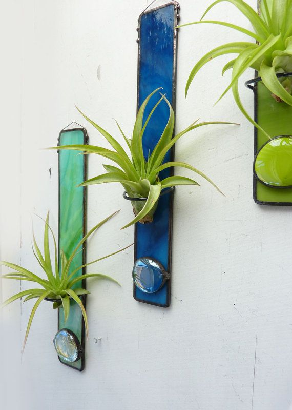 "Stained Glass Air Plant Holder: I like this idea for Xmas gifts... but need to find the right planter to place in the ""hoop"""