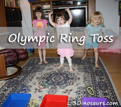 Olympic Ring Toss using pipe cleaner and different types items to toss the rings to. 3Dinosaurs.com
