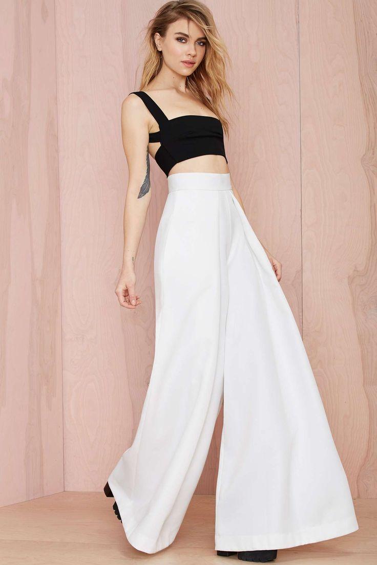 Solace London Stellis Wide-Leg Trouser - White