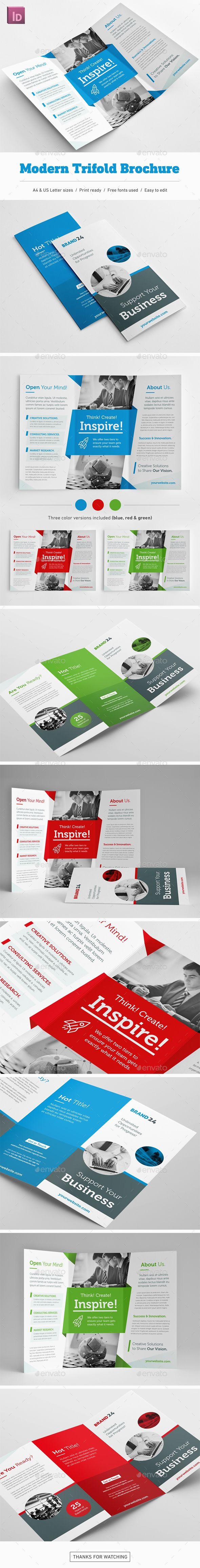 Modern #Trifold #Brochure - Corporate Brochures Download here: https://graphicriver.net/item/modern-trifold-brochure/19755609?ref=alena994