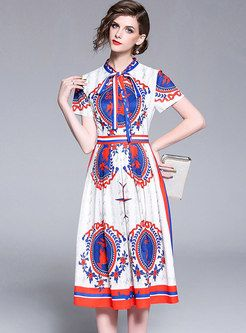 3169b037f316f Vintage Printing Bowknot Tie Midi Dress | Ezpopsy Boutique-skater dress |  Dresses, Skater Dress, Fashion