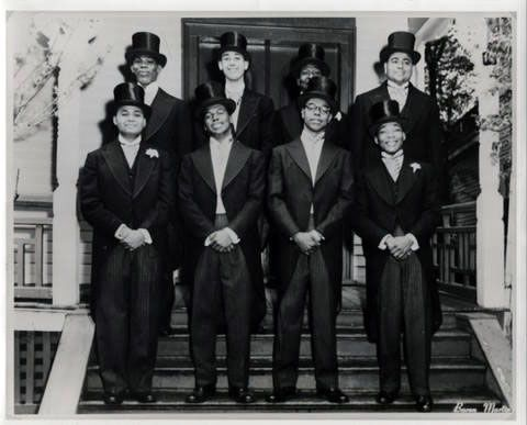 Martin Luther King Jr. Pledging Alpha Phi Alpha, circa 1952  Dr. King is the fourth person from the left. He was initiated at Sigma Chapter , Boston Metro chapter of the Alpha Phi Alpha Fraternity, while he was a graduate student at Boston University.