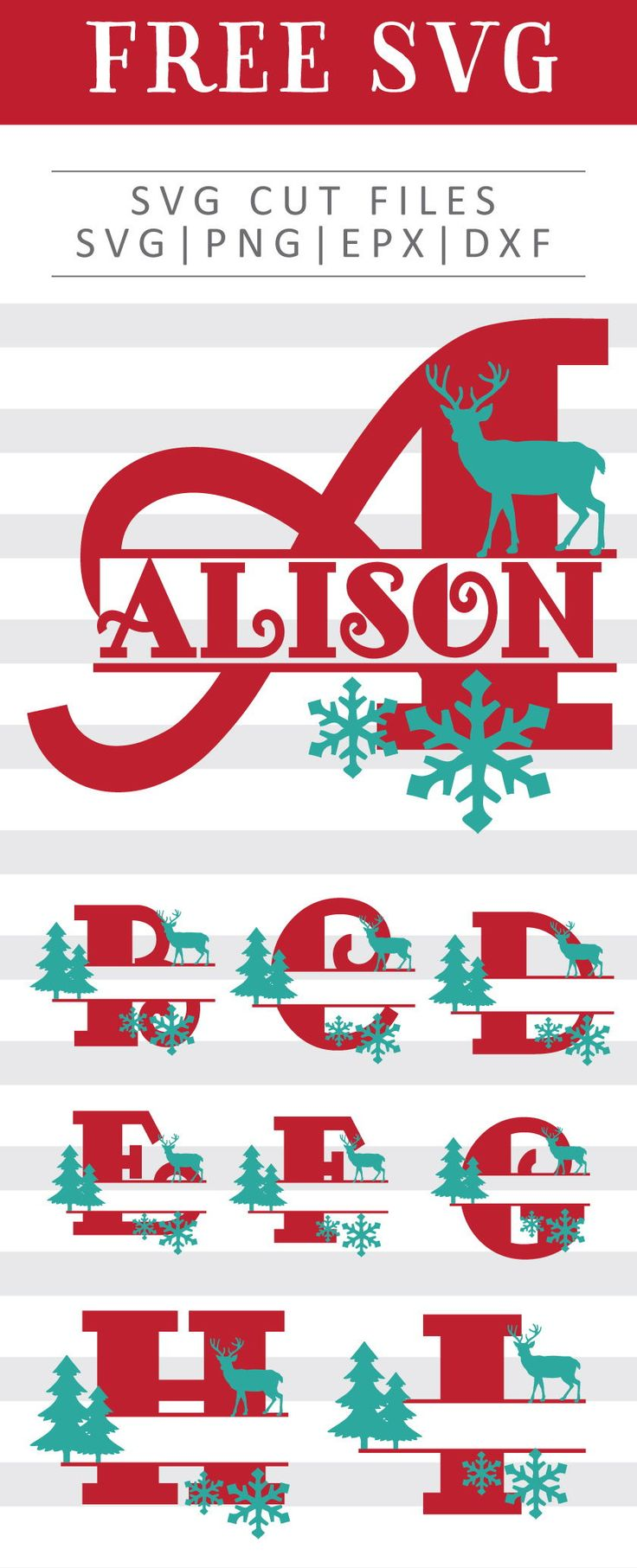Download Christmas Split Monogram Free SVG, PNG, DXF, EPS Download ...