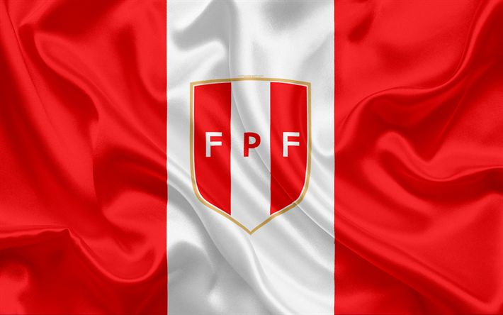 Download wallpapers Peru national football team, logo, emblem, flag of Peru, football federation, World Championship, football, silk texture