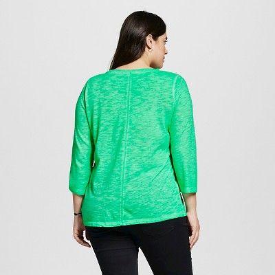 Women's Plus Size 3/4 Sleeve T-Shirt - Ava & Viv Island Green 4X