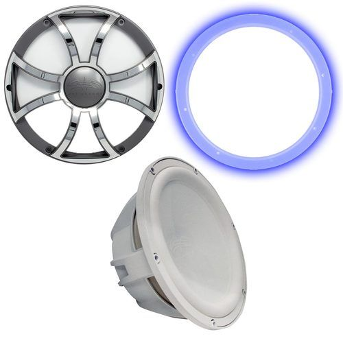 """Wet Sounds Revo 12"""""""" Subwoofer, Grill, & RGB LED Ring - White Subwoofer & Gunmetal Steel Grill - 4 Ohm"""