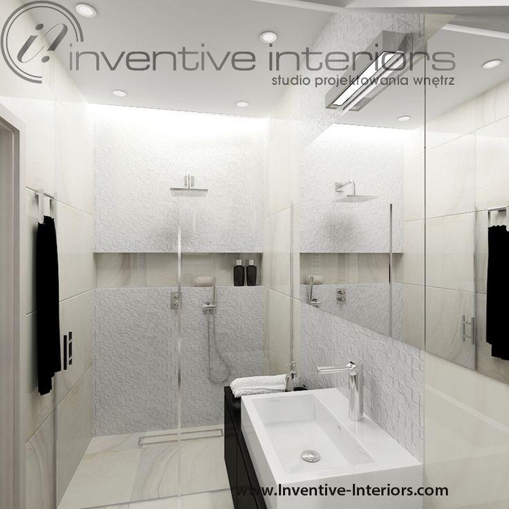 Projekt łazienki Inventive Interiors - jasna łazienka na poddaszu