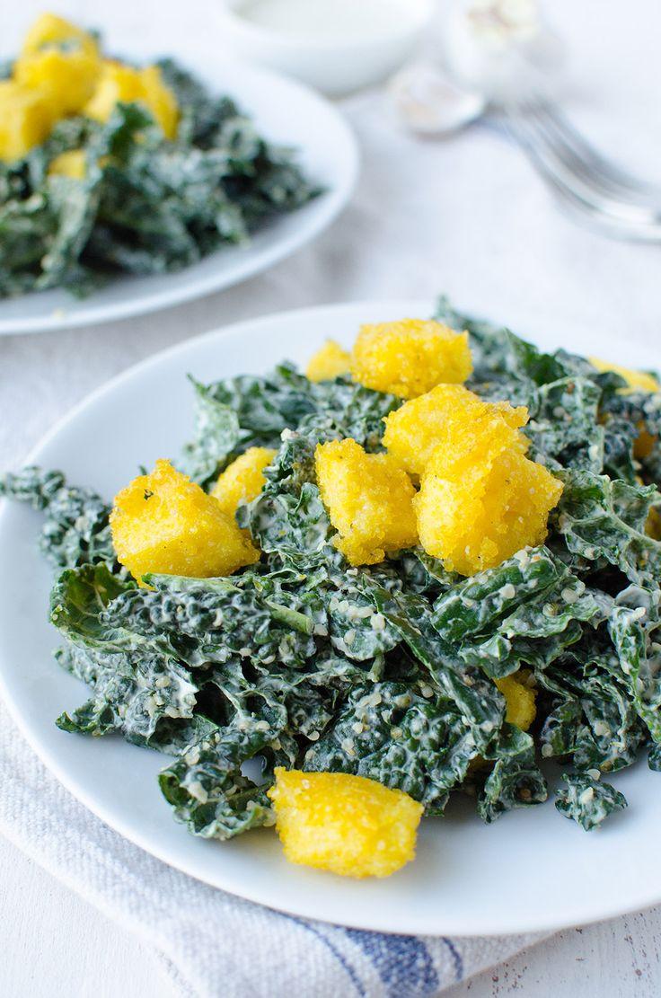 Kale Caesar Salad & Polenta Croutons - Delicious Knowledge