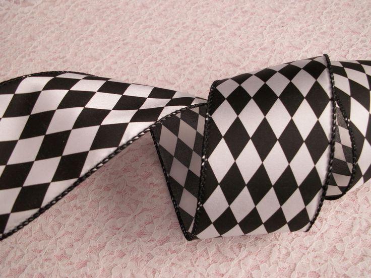 "Black & White Harlequin Diamond Ribbon, Mardi Gras, 2 1/2"" Wide, Wired, 3 YARDS"