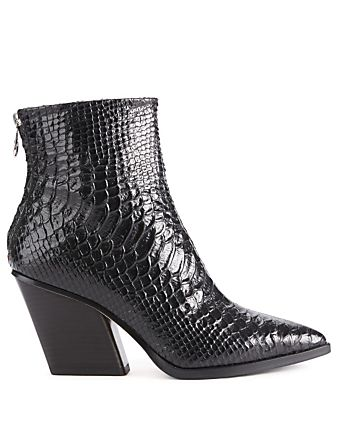 41cd3a8ee00cc7 Cherry Leather Ankle Boots In Snake Print