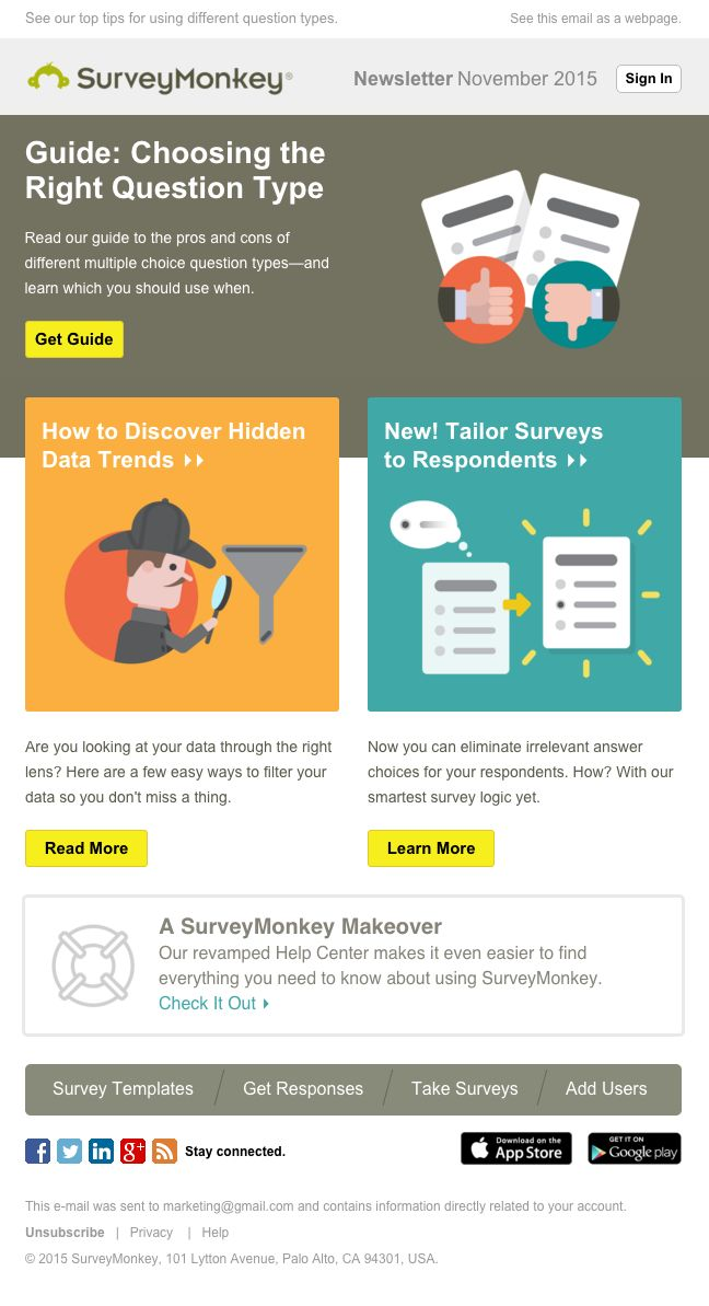Survey Monkey Newsletter - Love the simple Illustration and overall layout