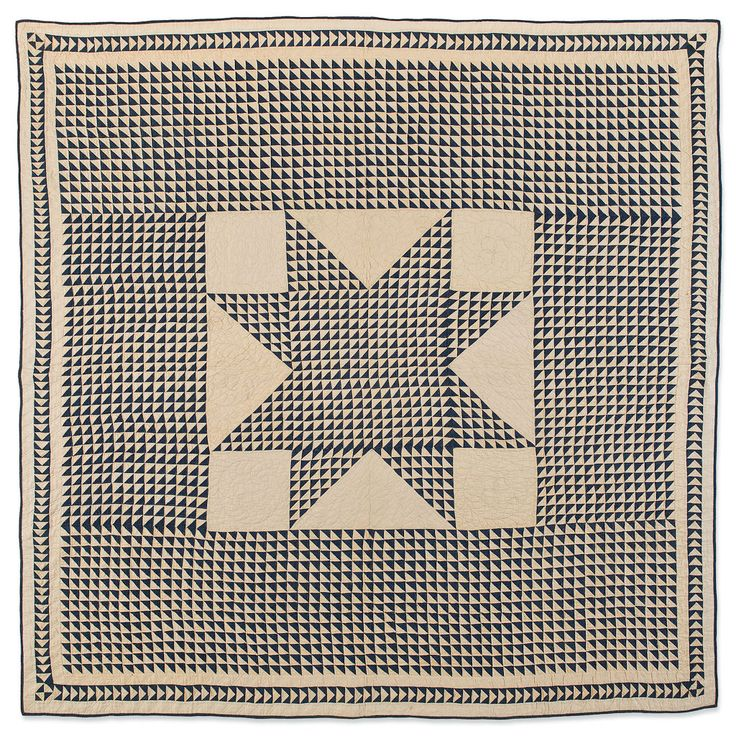 Flying Geese with Star, circa 1880, blue and white quilt with thousands of half square triangles, Kentucky, Speed Art Museum collection.