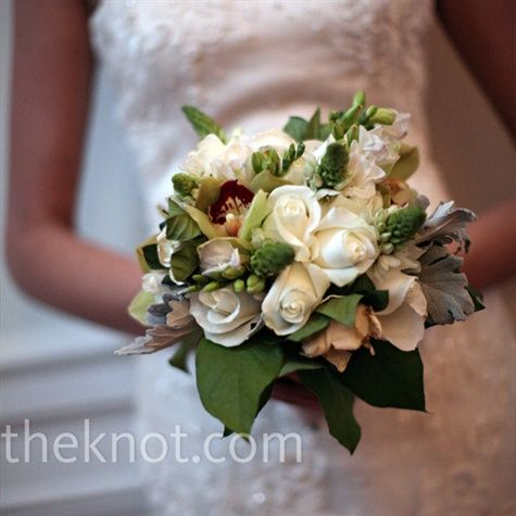 Bridesmaids Bouquet - white rose, gardenias, freesia, star of Bethlehem w pops of fresh greens and Dusty Miller