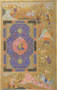 Folio from an album; verso: Young female, right-hand half of a double-page | 1590-1610 Safavid period Ink, opaque watercolor and gold on paper H: 40.3 W: 26.6 D: 0.0 cm Isfahan, Iran