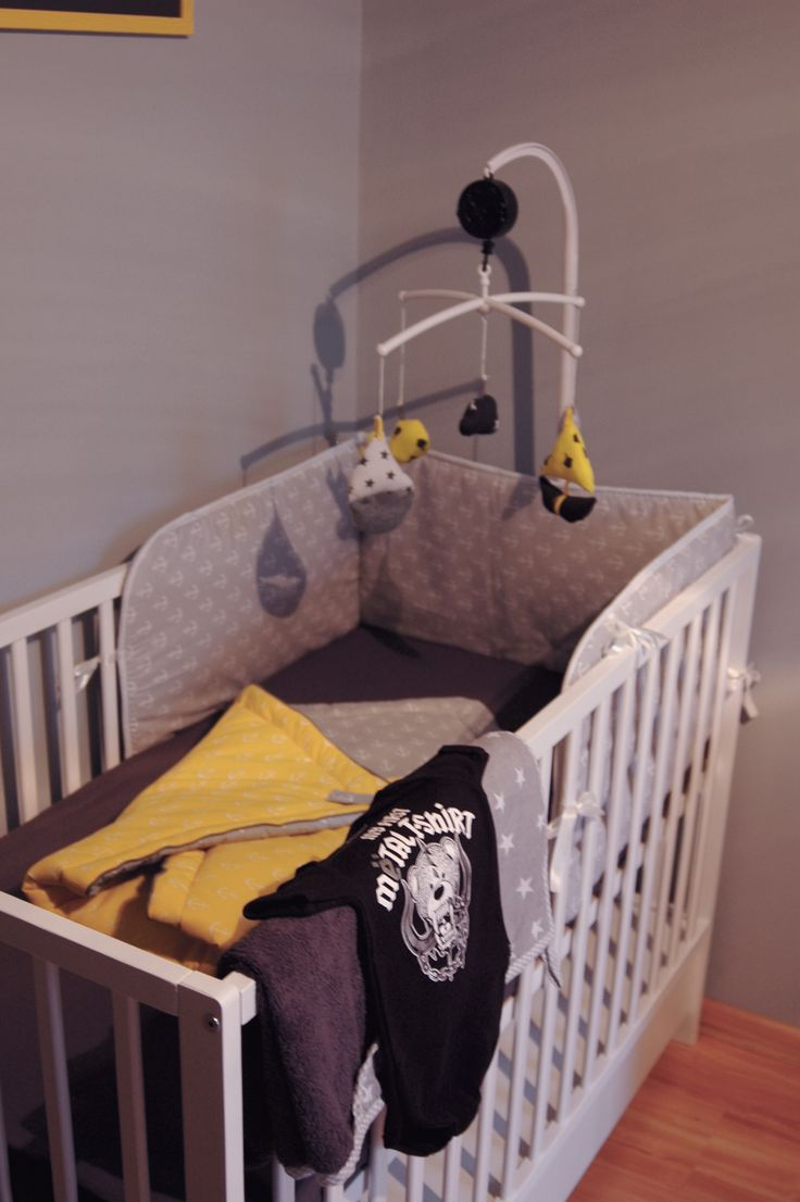 Nursery Nautical Pirates Rock'nRolla Grey Yellow White Black Kid's room Six Bunnies