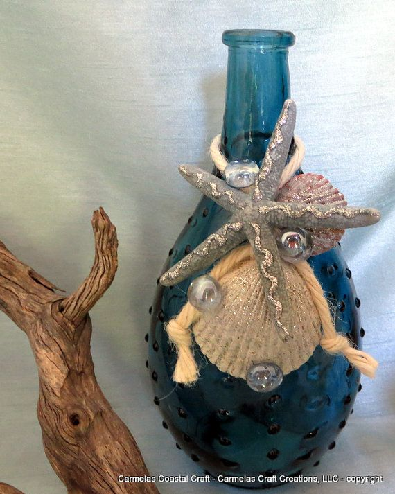 Blue Beach Vase with glitz starfish and by CarmelasCoastalCraft, $16.00