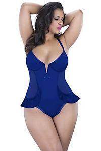 NEW Oh La La Cheri Paris Womens Plus Size 3X Royal Blue Simone Teddy Lingerie  | eBay